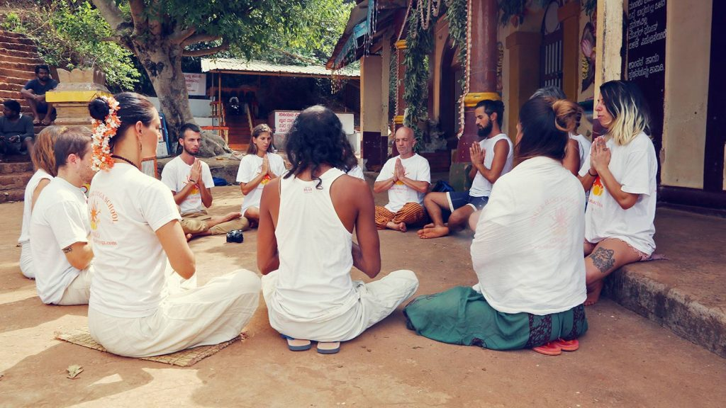 photo of sitting in patmasana in a circle for meditation shree hari