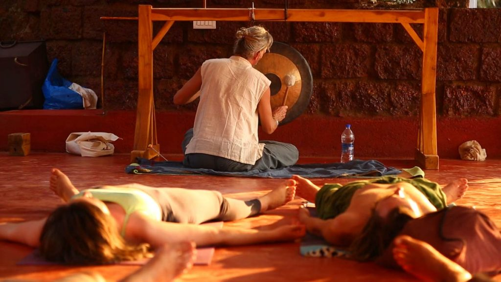 Gong-meditation in 200 hours yic course in gokarna, india