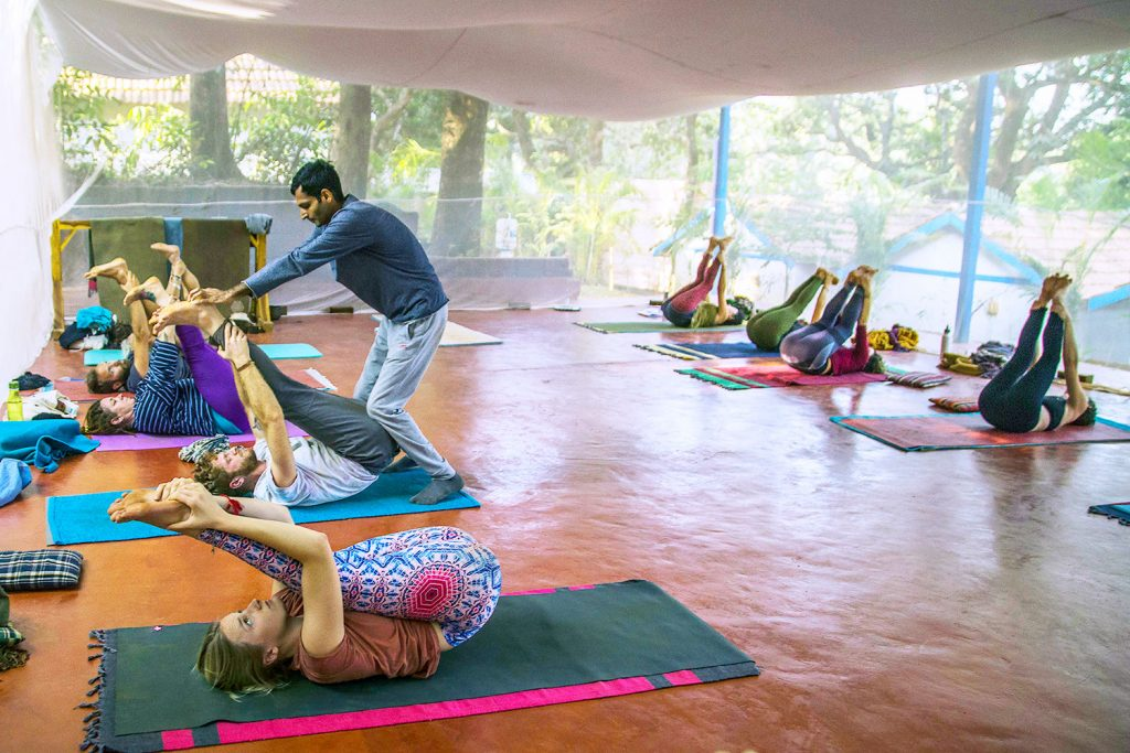 adjustment in shree hari yoga hatha yoga class goa