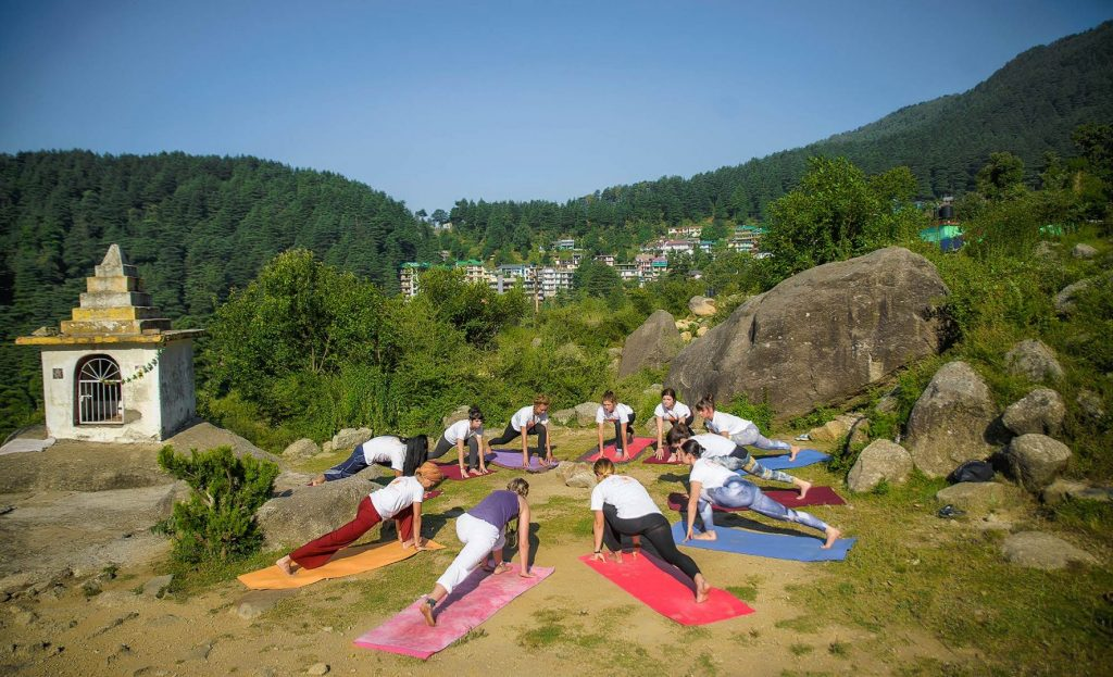 Ashwa Sanchalanasana, Crescent Low Lunge Pose Variation Knee On Floor in dharamsala at shrre hari yoga