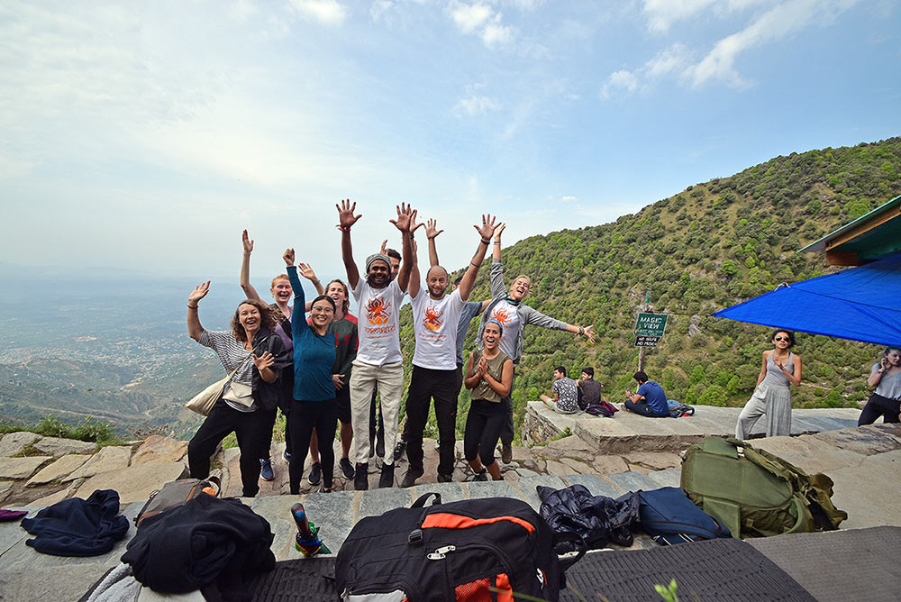 shree hari yoga ttc group photo in rishikesh, india